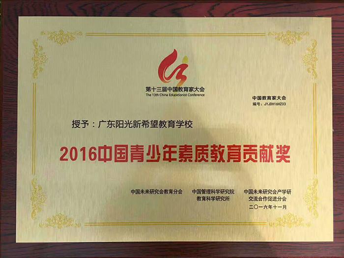 广东阳光新希望教育学校,中国青少年素质教育贡献奖